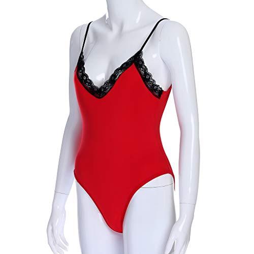 Sexy Rode v jumpsuit gesneden Korte kanten doorschijnend duikpak hals damesshort Zolimx slank pak met wB47X