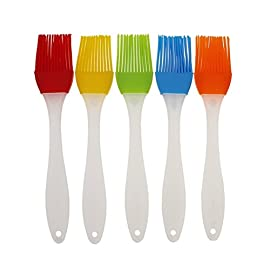 FDIO 5 Pcs Silicone Pastry/Basting/Oil Brush,Kitchen Gadgets for BBQ,Meat,Grilling,Cakes,(Multicolor) 22 MATERIAL: The oil brush head is made of food-grade silicone, which can withstand high temperature. The handle is environment-friendly PP which is non-toxic and durable FIVE COLOR TO CREATE FOOD: Including multiple colour 5 silicone brushes in one set, vibrant colors, avoid flavor crossing by using one color for different seasoning LIGHTWEIGHT DESIGN: The lightweight handle provides a soft comfortable firm grip making basting easy, quick and effortless coating action, can be used in many applications