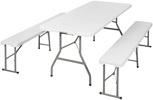 TecTake Conjunto Mesa y Bancos Plegables Muebles para Camping Picnic (Blanco | no. 401067): Amazon.es: Jardín