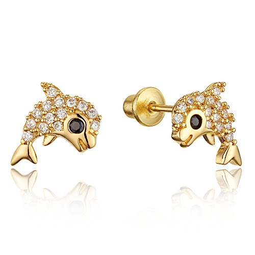 Gold Dolphin Post Earrings - 7