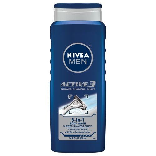 Nivea For Men Active3 Body Wash 16,9 onces corps, les cheveux et rasage, Bouteilles (pack de 3)