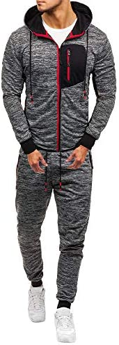 Tracksuit for Men 2019 Auwer Men`s Autumn Patchwork Zipper Sweatshirt Top Pants Sets Sports Suit Tracksuit