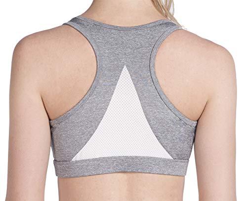 UURUN Women's Padded Racerback Sports Bra, Cute High Impact Yoga Running Workout Activewear Gym Bras Top Pull Over Grey-L