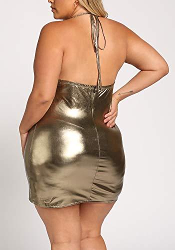 Debshops Femmes, Plus La Taille De L'or Métallique Licol Pellicule Faux Robe Moulante