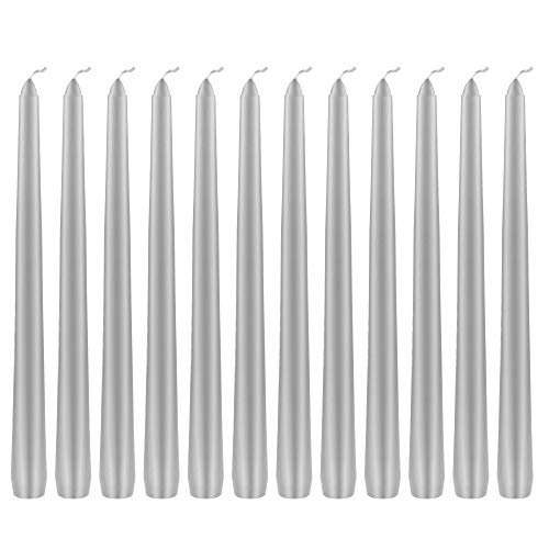 (Mega Candles 12 pcs Unscented Silver Taper Candle | Hand Poured Wax Candles 10