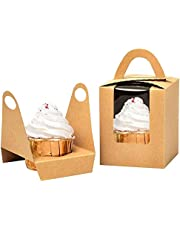Kraft Cupcake Boxes,50pcs Single Cupcake Carrier with Window Insert and Handle Kraft Pastry Containers Muffins Cupcake Carriers for Bakery Wrapping Party Favor Packing