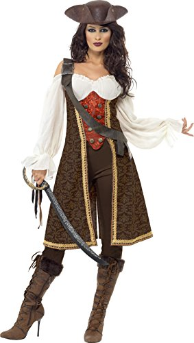 High Seas Pirate Costumes (Smiffy's High Seas Pirate Wench Costume, Brown/White/Red, Large)