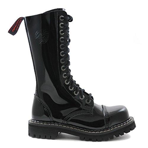 Angry Itch - 14-Loch Gothic Punk Army Ranger Lackleder Schwarz Armee Stiefel mit RV & Stahlkappe - Größen 36-48 - Made in EU!