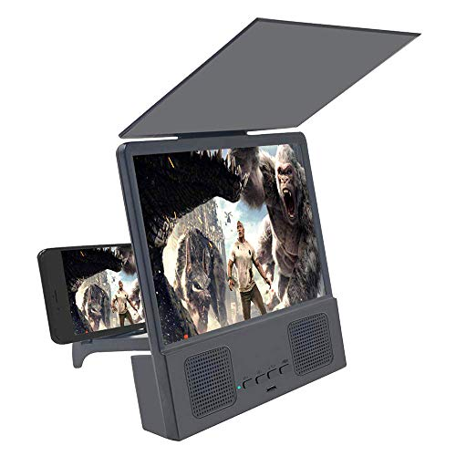 Jushi 8 inches Screen Magnifier 3D Smart Mobile Phone Movies Amplifier with Bluetooth Speaker, HD protable Phone Projector with Foldable Holder Stand for iPhone accessorie and All Smart Phone (Black)