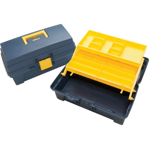 Pro Art Storage Box with 2 Inner Trays, 14-Inch by 8-Inch by 7-Inch, Blue/Yellow by Parrot
