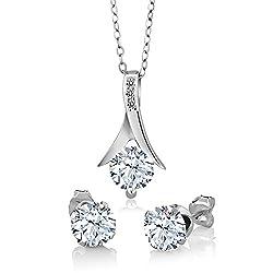 Sterling Silver White Sapphire Diamond Jewelry Set