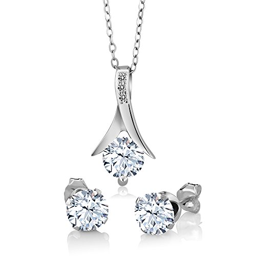 Gem Stone King 925 Sterling Silver White Created Sapphire and White Diamond Pendant Earrings Set 3.65 Ct with 18 Inch Silver Chain