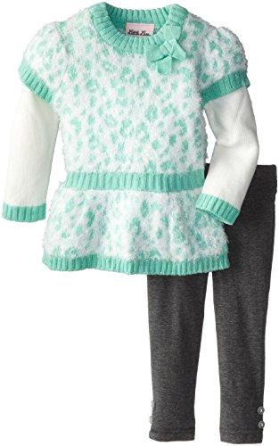 Little Lass Baby Girls' 2 Piece Cheetah Fuzzy Sweater Knit Set, Mint, 24 Months