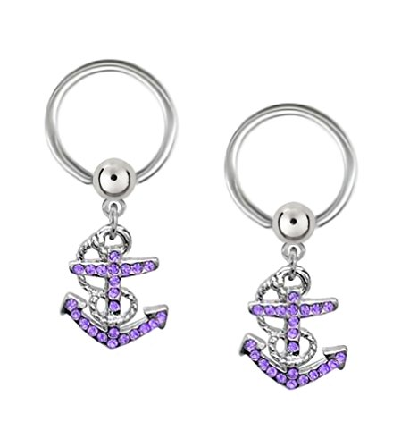- Pair of Cool!! Purple Anchor dangle Nautical boating Captive bead Ring belly, nipple, earring hoop 14g