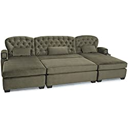 Cavallo Seating Chateau Bella Fabric Custom Home Theater Large Chaise Lounge Sofa with Ottoman, Customizable Cup Holders, and Nailhead Accents, Dove