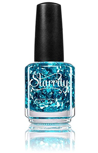 Blue Glitter Lite - Unique Light Blue Shards Flakes Glitter Nail Polish in Clear Base Top Coat - Sea Glass by Starrily - 15 ml