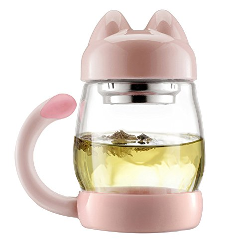 Pink Glass Photo Coaster - LifeCom Adorable and Sturdy Kittty Cat Cup, Gift for Cat Lovers,Free with A Cat Picture Coaster (Pink)