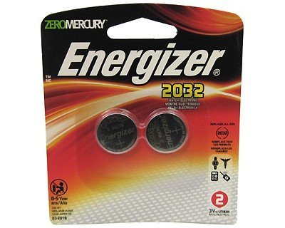 Energizer-Eveready 06611 - 2032BP-2 3 Volt Lithium Button Cell Watch / Garage Door / Calculator / Medical Battery 2 Pack (2032BP-2)