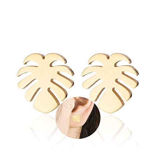 Simple Stainless Steel Tropical Monstera Leaf Earrings for Women Coconut Palm Tree Stud Earing Ocean Beach Jewelry (Gold)