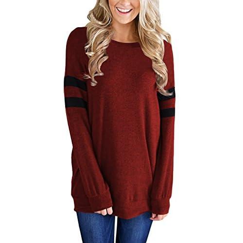 Nice Dokotoo Womens Lightweight Color Block Long Sleeve Sweatshirt Tunic Tops for cheap