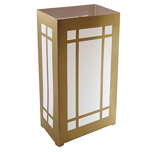CC Home Furnishings Club Pack of 12 Gold Lantern Mission Style Plastic Luminaries Bags 11'' by CC Home Furnishings