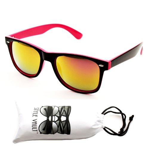 W1325-vp Style Vault Wayfarer 80s Sunglasses (Wf042t Black/pink-purplish Gold, - Pink Style Sunglasses 80s