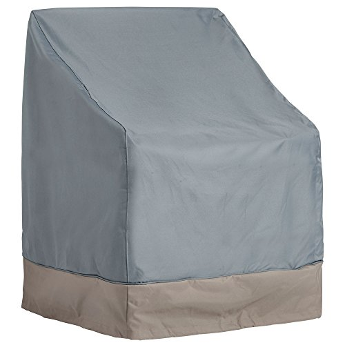 VonHaus Single Patio Chair Cover - 'The Storm Collection' Premium Heavy Duty Waterproof Outdoor Furniture Protection - Slate Grey with Beige Trim (30 x 28 x 25 - 40 inches)