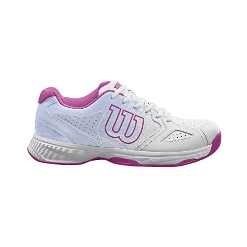 Wilson Femme Chaussures de Tennis, Convient aux joueuses de Tout Niveau, pour Tout Type de Terrain, KAOS Stroke W, Tissu Synthétique Blanc (White / Halogen Blue / Very Berry 000)