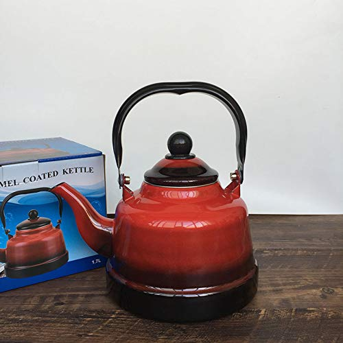 Teekannen Teapot Wasserkrug Emaille-Wasserkocher, Wasserkocher, Rote Haushaltsserie, Topf, Birnenförmiger Topf 2.0L B07PMWXTYC Teekannen