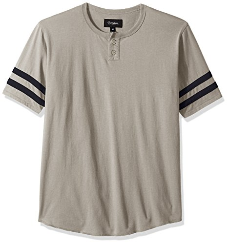 Brixton Men's Fairfield Short Sleeve Henley, Stone X-Small