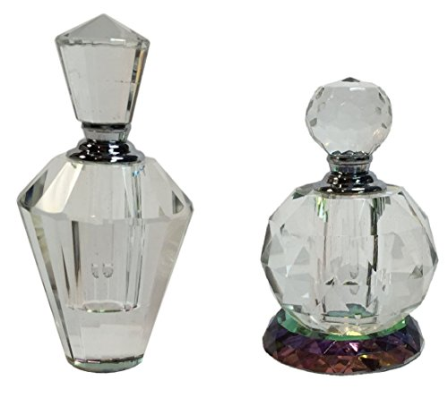 "Manual Crystal Prism Glass Decorative Empty Perfume Bottles IGGFPB2 3.65"", 3.25"" Set of 2 Clear"