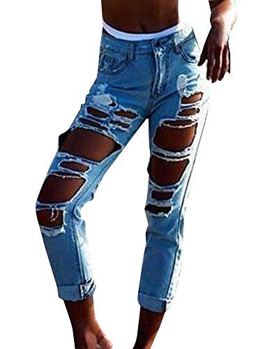 Blu Stretch Strappato Denim Matita Pantaloni Zhuikun Alte Jeans Cielo Donna Boyfriend Vita qwpnICPIFx