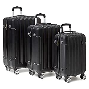 3 Piece Luggage Set with Locks (Black)