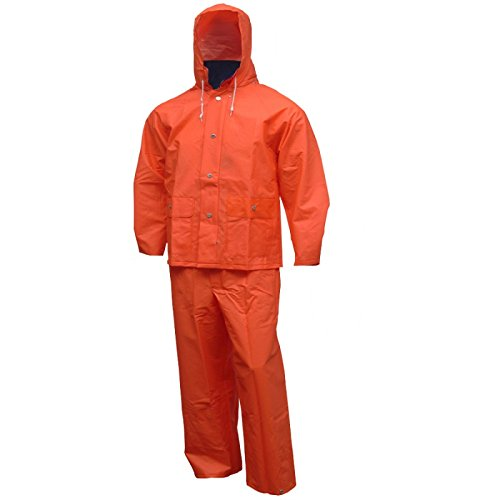 Tingley S63219.3X 2 Piece .35mm PVC/Polyester Jacket Storm Fly Front Overalls with Attached Hood, Size 3X, Blaze Orange ()