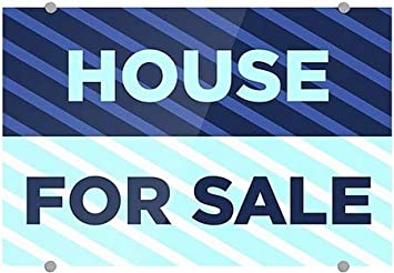 CGSignLab 36x24 House for Sale Stripes Blue Premium Brushed Aluminum Sign