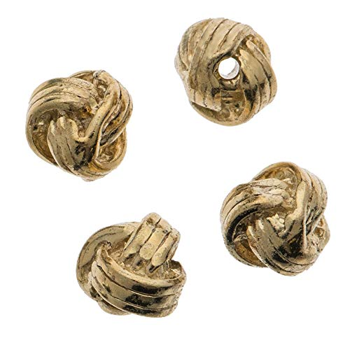 Dreambell 4 pcs 14k Gold on .925 Sterling Silver 4mm Round Woven Spacer Bead/Findings/Yellow Gold ()
