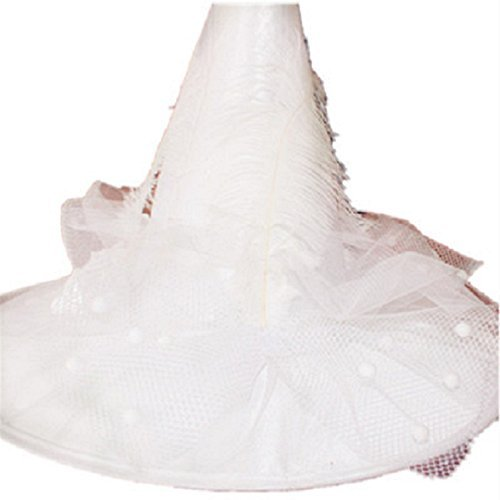 [Heydo Women's Large Costume Ruched Witch Hat Halloween Christmas Party Accessories-White] (Beautiful Witch Costumes)