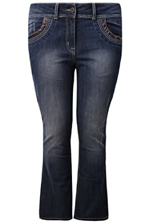 Plus Size Womens Indigo Bootcut Leg Jeans With Pocket Detail And Pu Trim Size 18 Blue