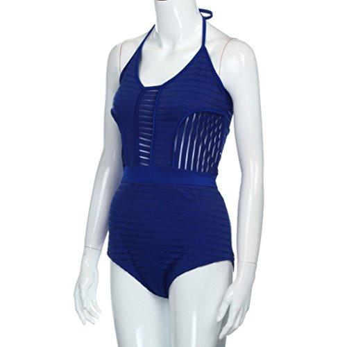 Bikini, Magiyard Vendaje trajes de baño mujeres ahuecar mujer de bajo corte sin mangas traje de baño Azul