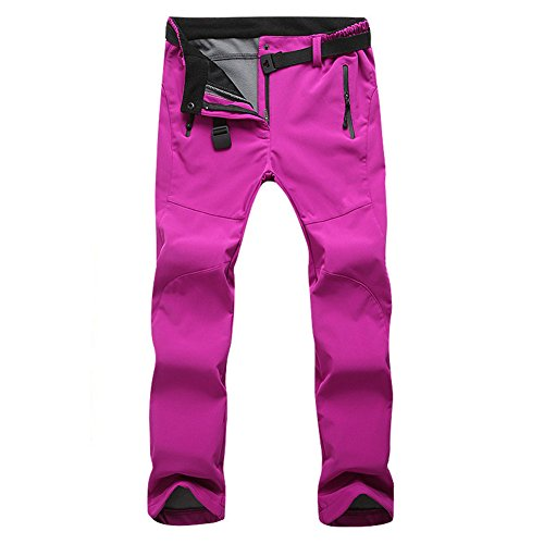Discount Luckycyc Women's Soft Shell Pants Outdoor Waterproof Windproof Hiking Mountain Skiing Trouser With Fleece hot sale