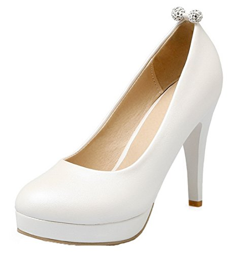 Pu On Pull Toe High Solid Shoes White Pumps Heels Round Women's AllhqFashion xBwHn45n
