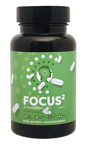 FOCUS² Pills - THÉ CAFFEINE FREE NOOTROPIC - For Focus, Concentration and Mental Energy - Boosts Mental Energy, Drive and Motivation - 30 vegetarian capsules