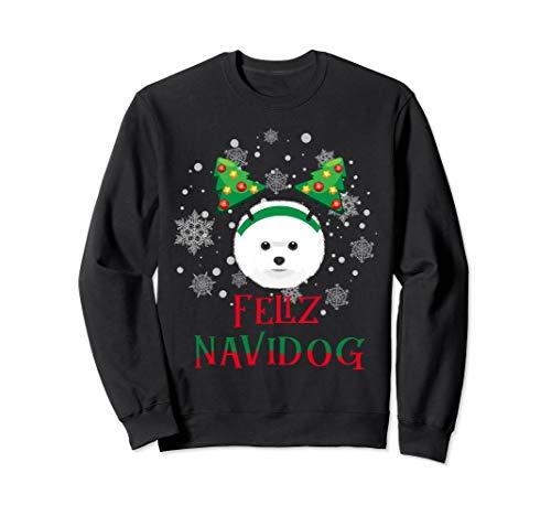 Sweatshirt Bichon Frise Feliz Navidog Christmas Funny - Bichon Sweatshirt