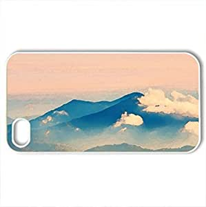 beautiful mountainscape at sunrise - Case Cover for iPhone 4 and 4s (Mountains Series, Watercolor style, White)