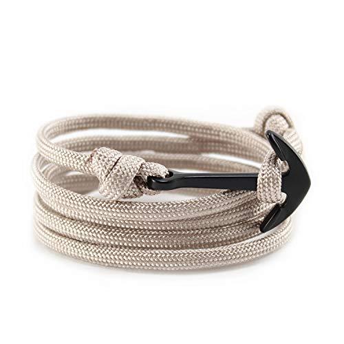 Flexo Fitness Matte Handmade Motivational Black Plated Nylon Adjustable Wrist Rope Anchor Bracelet for Men and Women (Brown and Black)