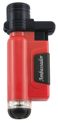 Blazer Ambassador Butane Refillable Torch Lighter, Red - Blazer Lighters