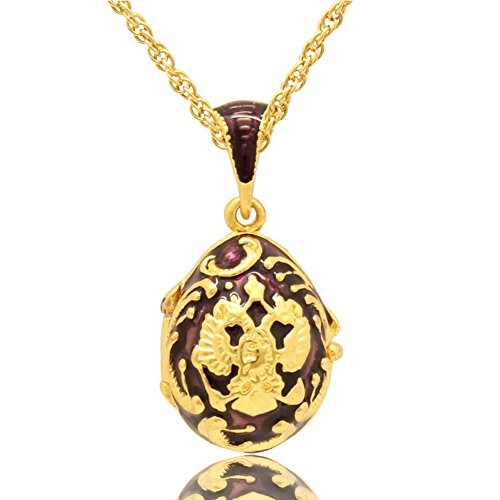 MYD Jewelry Hand Enamel Crystal Russian Coat of Arms Faberge Egg Locket Pendant Necklace Chain Included (Purple 2)