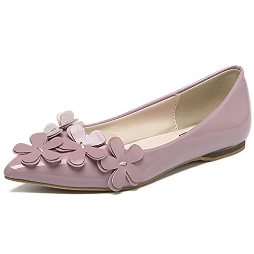 on Slip Comfort Casual Pink Ballet Plain Pointed Flats Soft Women's QZUnique Shoes 4nx0n8