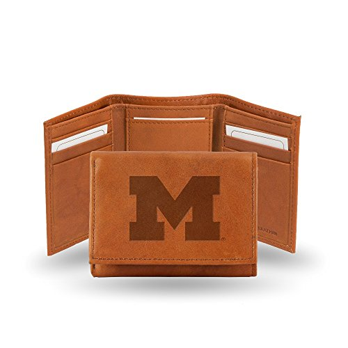 Rico Industries NCAA Michigan Wolverines Embossed Leather Trifold Wallet, Tan
