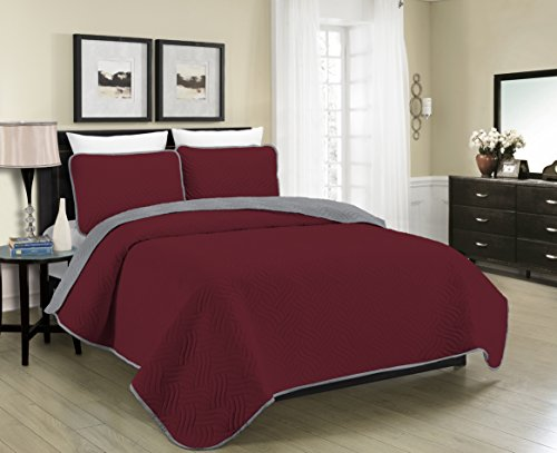 Blissful Living Reversible Luxury Pinsonic Quilt Set Including Shams – Lightweight and Soft for All Year Round Comfort, Available in Twin, Full / Queen and King Size (Burgundy/Grey, King)